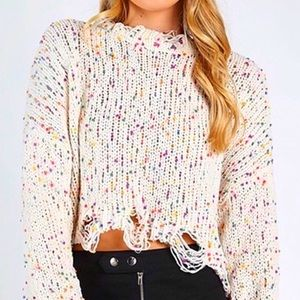 Sweaters - 🎁 ONLY 2 LEFT! Distressed Confetti Sweater